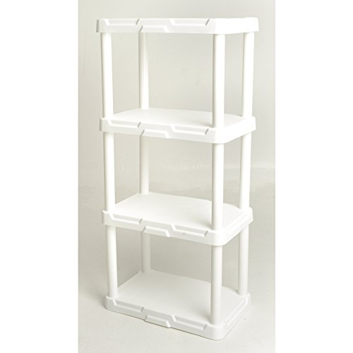 - Blue Hawk 4-Tier Plastic Freestanding Shelving Unit Storage Shelf Shelves Rack, White