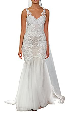 DAPENE® Women New Straps Lace Sequin Ball Gown Wedding Bridal Dress