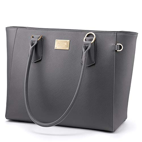 Laptop Bag 15.6 Inch Handbags Women PU Large Business Laptop Shoulder Bags for women Tote Bags Briefcase Laptop Notebook for Office School Shopping Grey
