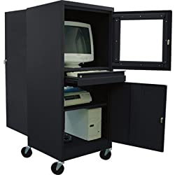 "Sandusky JG2663-09/BLK Black Steel Mobile Computer Security Workstation, 150 lbs Capacity, 26"" Width by 63"" Height by 24"" Depth"