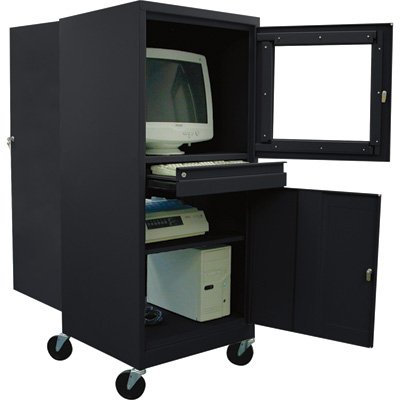 22 Gauge Steel Shelving (Sandusky JG2663-09/BLK Black Steel Mobile Computer Security Workstation, 150 lbs Capacity, 26
