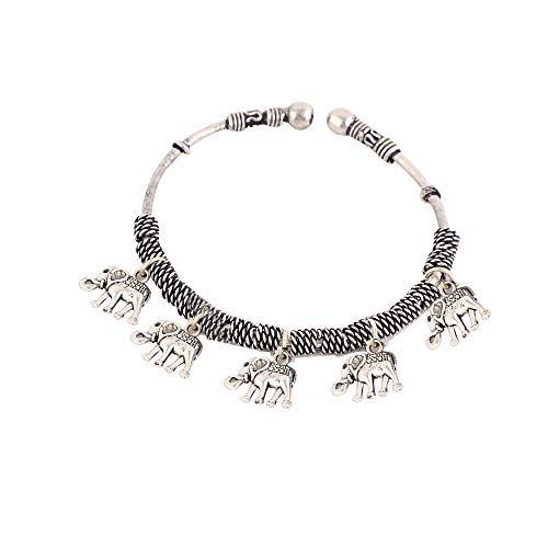 Saissa Oxidized Silver Plated Elephant Charms Bangle Bracelet for Girls and Women (B07VL8DFR9) Amazon Price History, Amazon Price Tracker