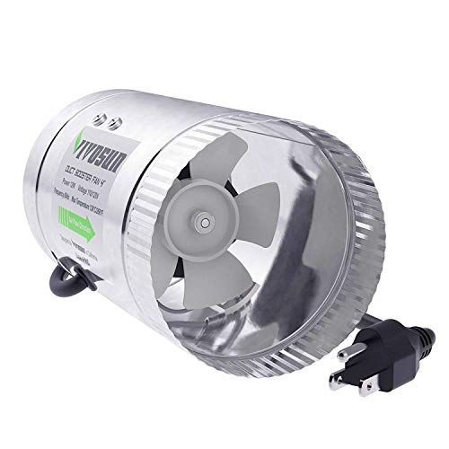VIVOSUN 4 inch Inline Duct Booster Fan 100 CFM, HVAC Exhaust Intake Fan, Low Noise & Extra Long 5.5' Grounded Power Cord ()