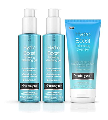 Neutrogena Hydro Boost Cleansing Collection w/Hyaluronic Acid-Non-Comedogenic, Hypoallergenic, Oil, Soap, & Paraben Free-Removes Dirt Oil & Impurities,2-6oz Cleansing Gels & 1-5oz Exfoliating Cleanser