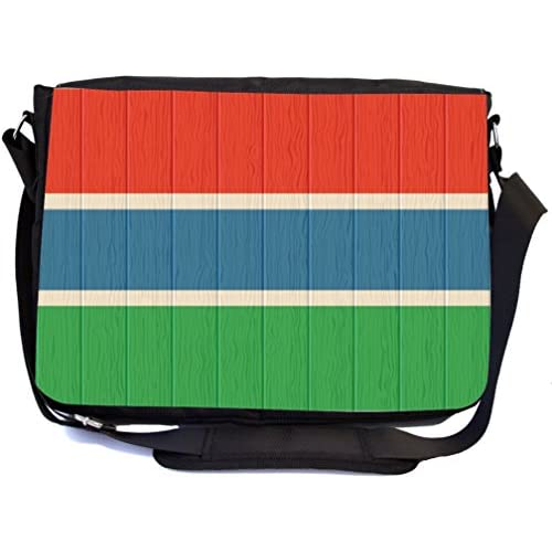 Rikki Knight Gambia Flag on Distressed Wood Design Multifunctional Messenger Bag - School Bag - Laptop Bag - with padded insert for School or Work - Includes Matching Compact Mirror