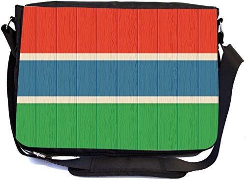 Iraq Flag on Distressed Wood - Messenger Bag - School Bag (UKBK) by Rikki Knight