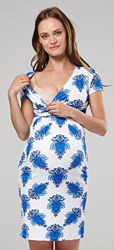 HAPPY Donna Blue Vestito Scollo Prémaman Bianco Corta MAMA aderente V 705p Royal Manica Con a Tqr5T