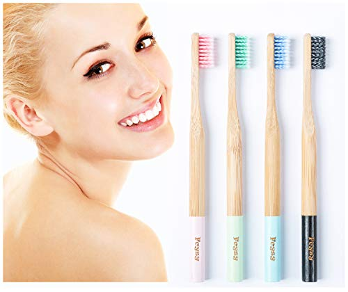 Bamboo Toothbrush-Fcysy Organic Natural Biodegradable Bamboo Charcoal Toothbrush with Soft BPA-Free Germany Imported Spiral Nylon Bristles, Unique Color Combination Travel Toothbrush Set-4 PACK