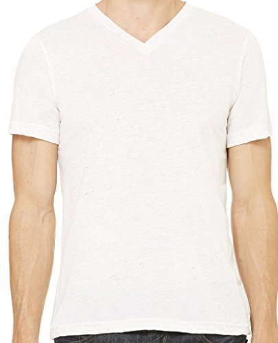 Mens Tri Blend V-Neck Tee Shirt, 2XL Oatmeal Triblend