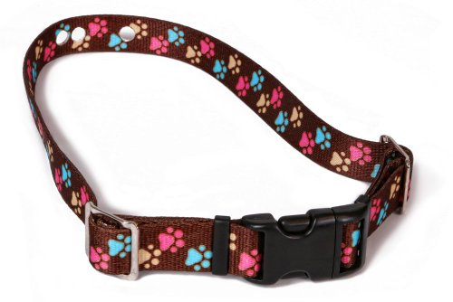 "Replacement Receiver Collar Straps For All Brands Electric Dog Fences | Brown With Colorful Paws | PetSafe, Invisible Fence, More (Up To 26"" Neck)"