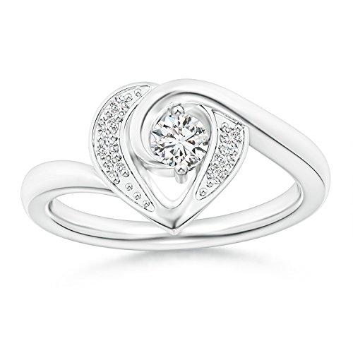 2-Prong Set Solitaire Diamond Swirl Heart Ring for Women in 14K White Gold (Color: H, Clarity: SI2) - 14k Wg Diamond Swirl Ring
