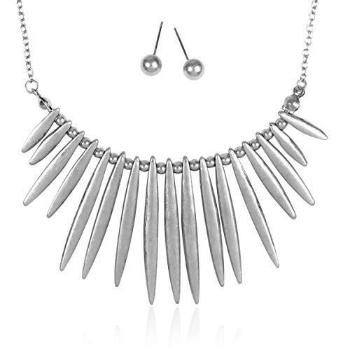 - RIAH FASHION Bohemian Geometric Metallic Necklace - Boho Tribal Chain Bib Collar Choker Wavy Bar Fringe/Spike Tooth (Spike Bib - Silver)