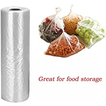 "Immuson 12"" X 20"" Plastic Produce Bag on a Roll Food Storage Clear Bags For Fruits Vegetable Bread (350 Bags-1 Roll)"
