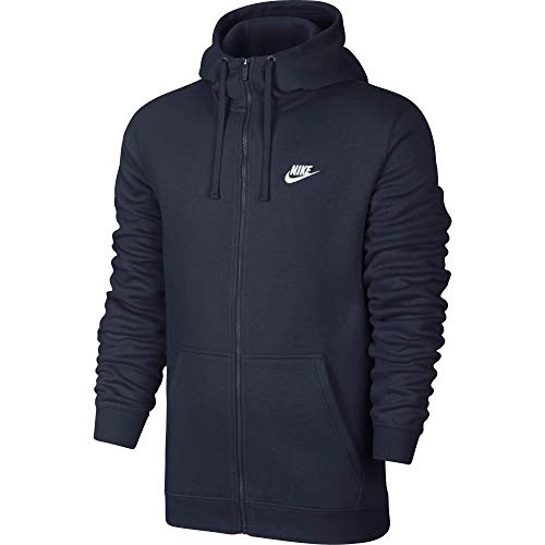 (Men's Nike Sportswear Club Full Zip-Up Hoodie, Fleece Hoodie for Men with Paneled Hood, Obsidian/Obsidian/White, S)