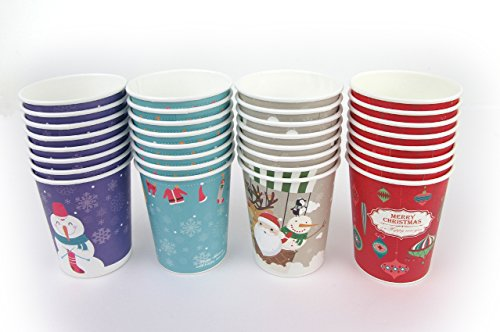 Set of 32 Christmas Design 10oz Disposable Hot Beverage Insulated Paper Party Cups 8 of Each Design Wedding Birthday Graduation Office Party Supplies Decorations Wholesale Takeout Coffee Cup (C Type)