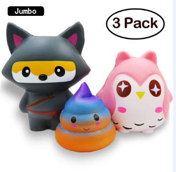 Jumbo Squishies Slow Rising Cute Fox Owl Poo Kawaii Squishies Toys Cream Scented Stress Relief Squishy Toy for Kids and Adults 3 PCS