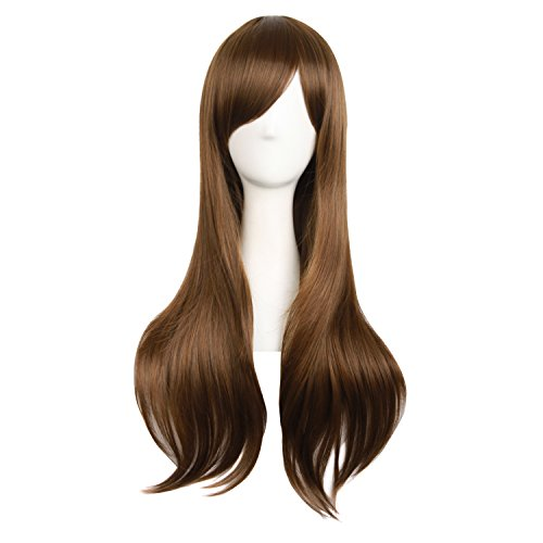 long brown wig with side bangs - 1