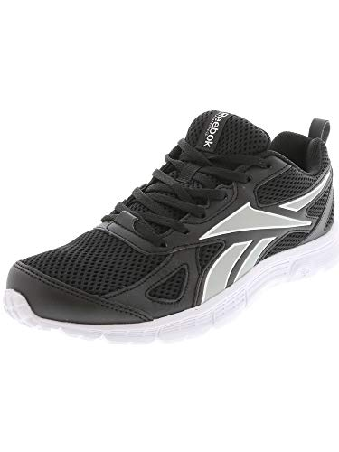 Reebok Women's Run Supreme SPT LTHR Running Shoe, Black/Silver Metallic/White, 7.5 M US