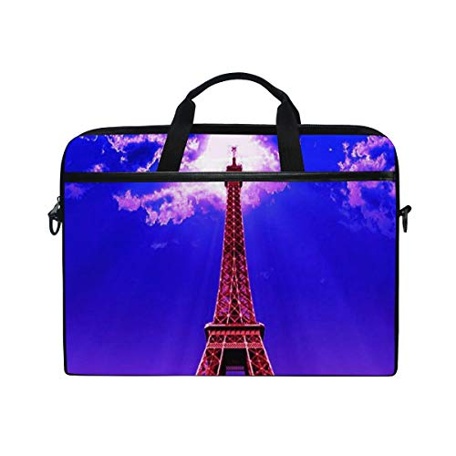 Laptop Case, Paris Eiffel Tower, Laptop Shoulder Messenger Bag Sleeve Notebook Tablet Cover Compatible 15 Inch - 15.4 Inch, Carrying Handbag Mac MacBook Computer Briefcase for Men Women