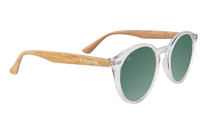 The Wrong Way Gafas de sol Efecto Madera Lentes de espejo verdes. Montura resistente a golpes y deformaciones. Incluyen funda grabada y toallita ...