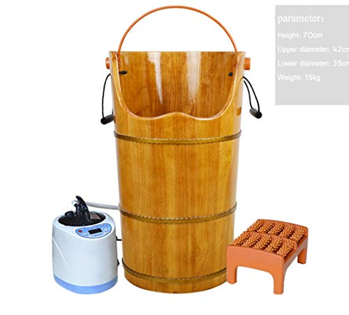LINGXU Oak, Fumigation Bucket, steam Bucket, gynecological Sitting Smoke Barrel, Solid Wood Foot Bucket, Heated Foot Bath Barrel,Brass (Oak Brass Bar Stool)