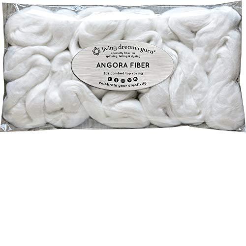 Ultra Soft Angora Bunny Fiber for Spinning, Blending, Felting, Dyeing & Fiber Arts. Natural Undyed Combed Top ()