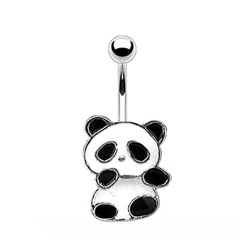 West Coast Jewelry Navel Belly Button Ring with Dangling Panda Bear - 14GA 3/8