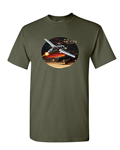 A-10 Warthog T-Shirt Air Force Ground Attack Support Aircraft Mens Tee Shirt Military Green S (Best Ground Attack Aircraft)