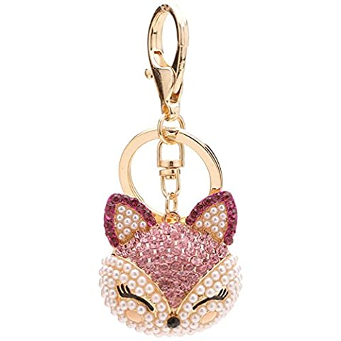 FOY-MALL Cute Fox Head Rhinestone Pearl Alloy Women Bag Charm Keychain H1294 - Pearl Graduation Charm