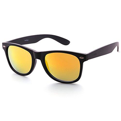 Mirrored Sunglasses for Men Women, Revo Yellow Lens, Matte Black Plastic Frame, UV Protection (Sunglasses Wayfarer Plastic)