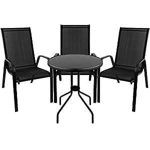 4piezas.–Muebles de terraza Bistro Mesa de cristal Ø60cm + 3x silla de jardín silla apilable 2x 1Cordaje Asiento Grupo Bistro Muebles de asiento (Jardín muebles jardín Balcón Muebles
