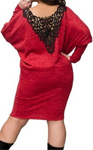 Long Womens Casual Sleeve Cromoncent V Wine Dress Lace T Back Neck Classic Shirt Red dq8BxxE