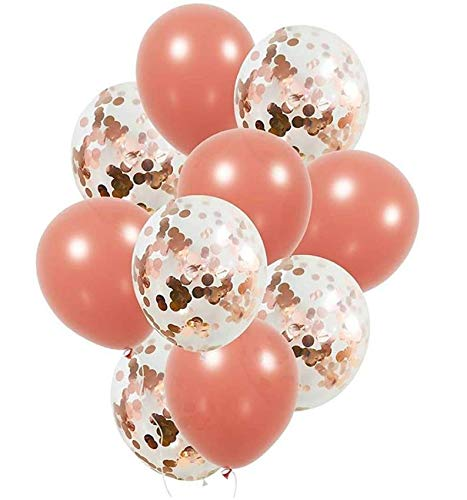 Rose Gold Confetti Balloons 18 inch Set | 10 Pack Large Rose Gold Foil and Light Pink Paper Filled | Birthdays, Weddings, Showers, Engagements, Parties, Special Events - by Avant Balloons
