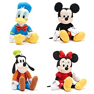 4 Dreamy Soft Character Mickey Mouse & Minnie Mouse + Disney Friends Goofy & Donald Duck Plush Stuffed 10″ Bundle Pack