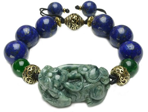 Luxury Elegant Fortune Tiger, Lapis Lazuli & Jade Amulet Bracelet - Fortune Feng Shui Jade ()