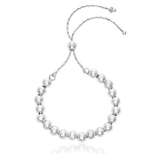 Lesa Michele Polished Ball Slider Bracelet in Sterling Silver