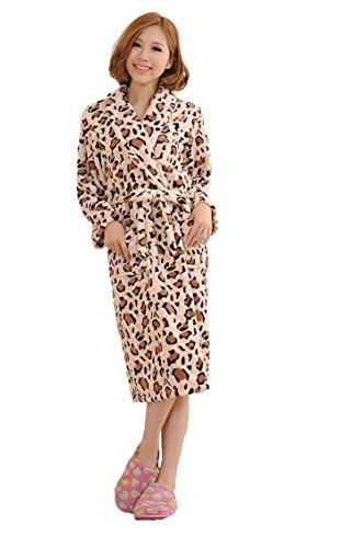WELVT Womens' Shawl Collar Full Length Plush Soft Warm Fleece Bathrobe Robe Pajamas (Free size, suit for S/M/L/XL/XXL, Coffee Leopard)