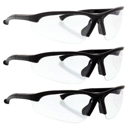 3 Value Pack Z87+ Impact Protection Safety Glasses Sunglasses Clear Rubber Temples Wrap Around - Impact Z87