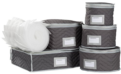 China Storage 6 Piece (China Tea Cups and Plates Storage Set - Deluxe Quilted Microfiber – Grey, with Braidz Foam Padding)