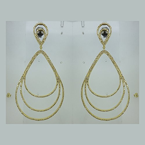 (Solid 18k Yellow Gold Multi Strand Dangle Drop Shape Earrings Pave Natural 4.61 Ct Diamond Jewelry)