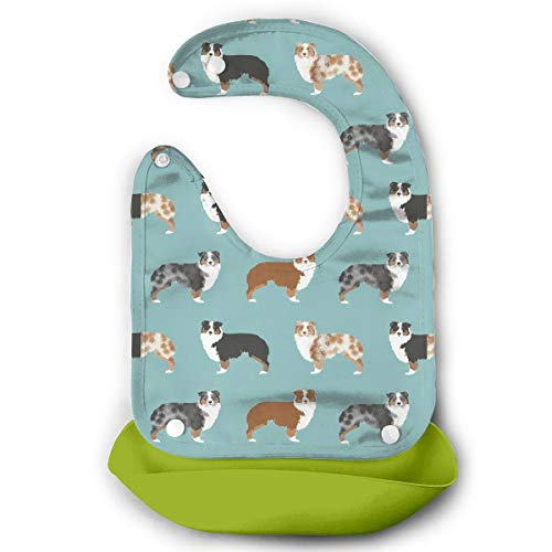 Price comparison product image W3Zap1 Australian Shepherds Dogs Waterproof Silicone Baby Bibs Easily Wipes Clean Comfortable Soft Baby Bibs Keep Stains Off