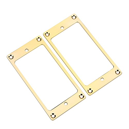 Gold Humbucker (2 Pcs Metal Flat Humbucker Cover Guitar Pickup Frame Mounting Ring (Gold))