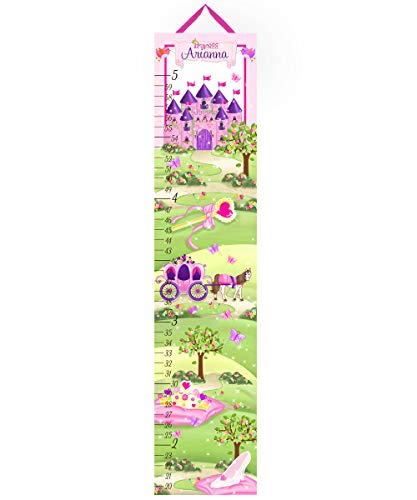 (Toad and Lily Canvas Growth Chart Princess Fairytale Castle Girls Bedroom Baby Nursery Wall Art Personalized Kids Growth Chart Height Chart GC0168)