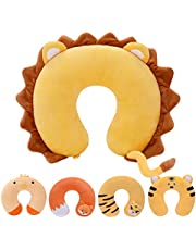 H HOMEWINS Travel Pillow, Head, Chin, Neck Support Pillow Cartoon Kid - Children Comfort in Any Sitting Position for Airplanes, Cars, Trains, Machine Washable, Attach Luggage - Children Gift