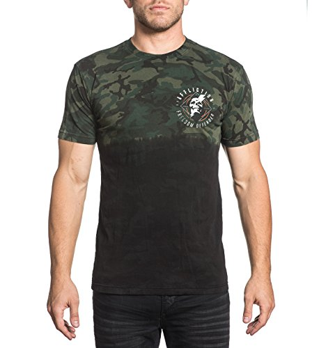 Affliction Men's Assault Green Camo Tee (Medium)