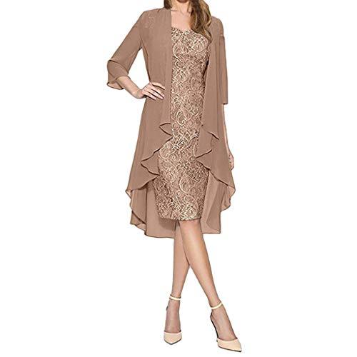 Goddessvan Women Fashion Two-Piece Chiffon Cardigan Lace Dress A-Line Sleeveless Knee-Length Beach Dress Khaki