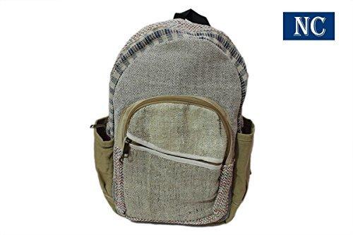 100% Pure Hemp Natural Color Backpack Handmade Nepal with Laptop Sleeve - Fashion Cute Travel School College Shoulder Bag/Bookba