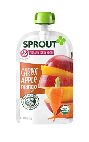 2 Apple Carrot ( Sprout Stage 2 Organic Baby Food Pouches, Carrot Apple Mango, Pack of 10)