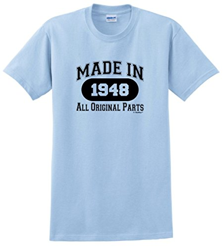 Galleon - 70th Birthday Gifts For Dad 70th Birthday Gift Made 1948 All Original Parts T-Shirt Medium Light Blue