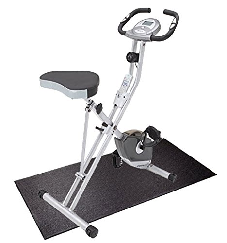 Bundle Includes 2 Items - Exerpeutic Folding Magnetic Upright Bike with Pulse and SuperMats Heavy Duty P.V.C. Mat for Cardio- Fitness Products (2.5-Feet x 5-Feet)